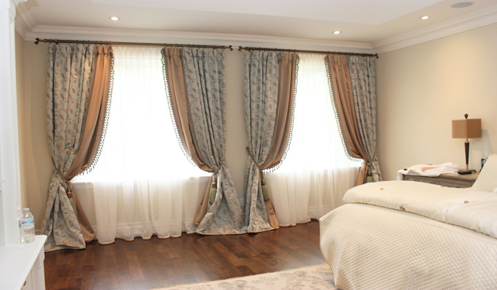 Custom made bedroom window drapery, Vaughan