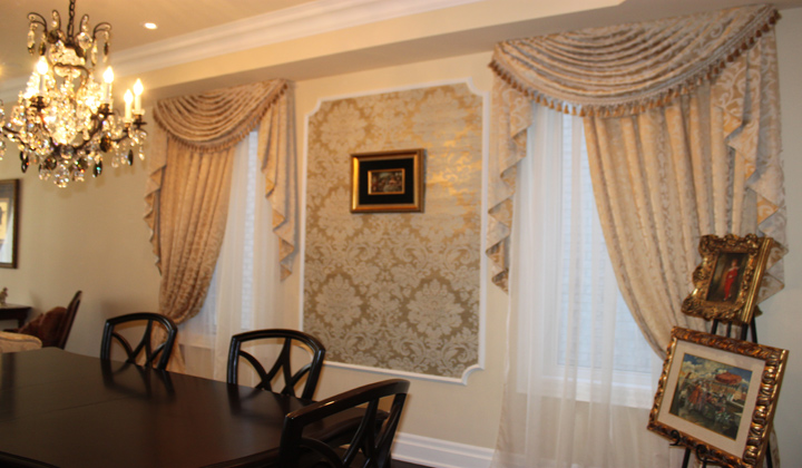 Cascade Valance Custom Dining Room Draperies