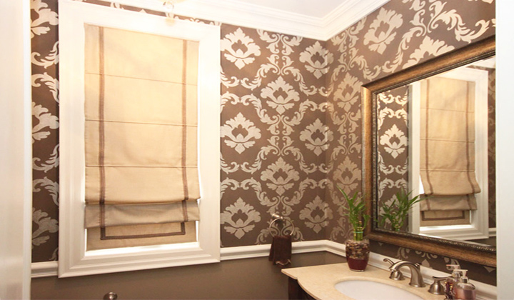 Roman style window coverings for bathroom