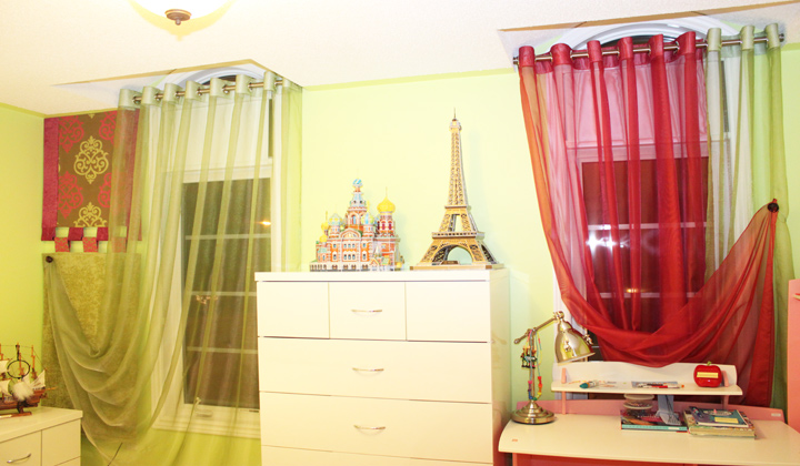 Kid`s bedroom colorful sheer curtains