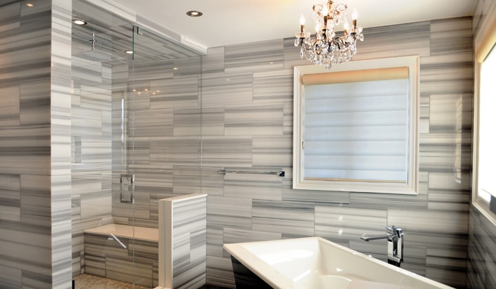 In-Line glass shower, bathroom renovation by Quality Glass Shower