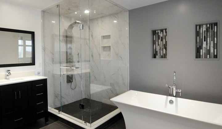 Modern 4 pc. bathroom renovation by Quality Glass Shower