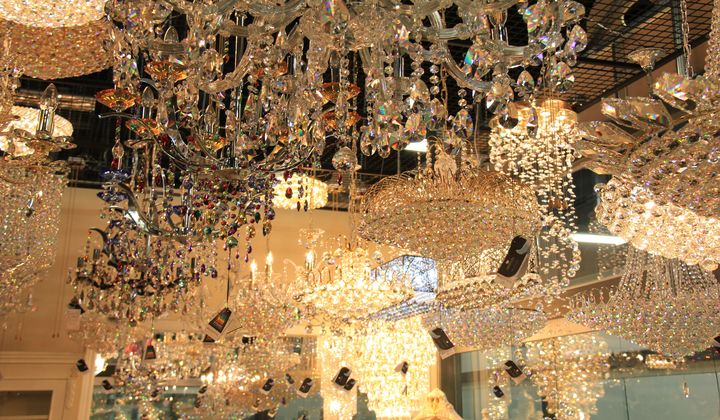 Great selection of crystal chandeliers at Wonder Home showroom, Improve Mall