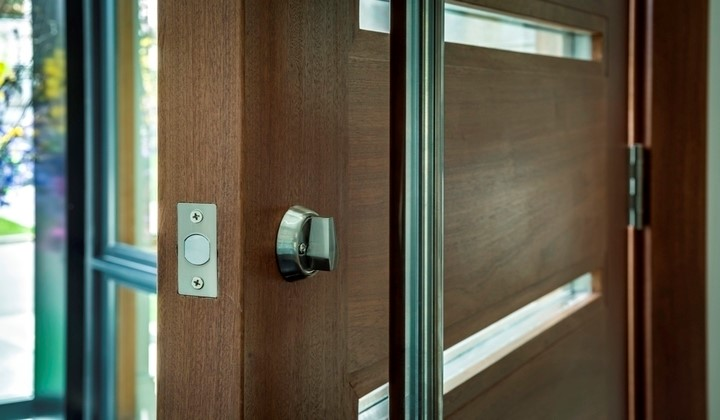 Solid wood exterior doors with glass inserts by Master Doors