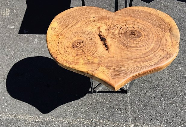 Real wood heart shaped side, coffee table