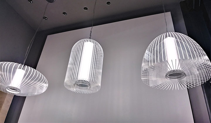 Great selection of modern light fixtures and chandeliers at Tubicen showroom, Improve Mall