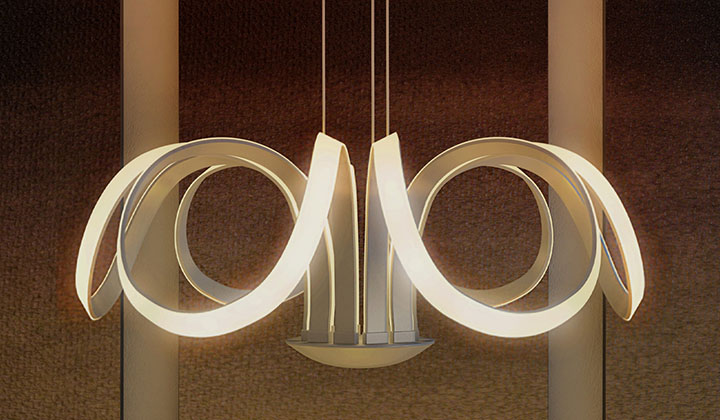 The multi-ring design and the LED diode array placement creates a sense of purpose and harmony