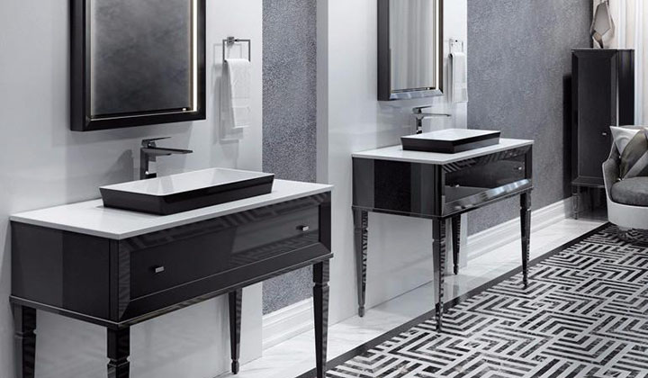 A classic décor vanity, with its sophisticated beauty enhanced by its high-gloss finish