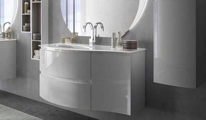 Luxury white vanity with a built in sink