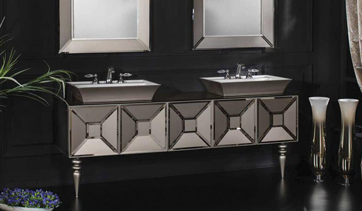 Double Sink Vanity in Satin Bronze with matching mirrors