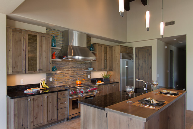 Exotic Rough Chic cabinets and countertops
