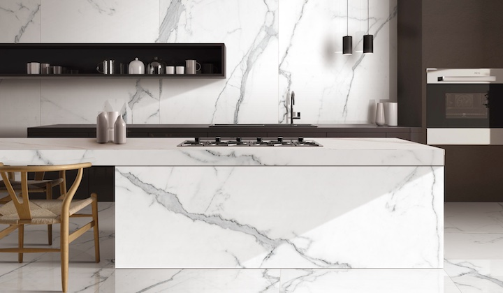 Max Slab, the Italian natural marble looking, revealing light grey on white, elegant and modern design