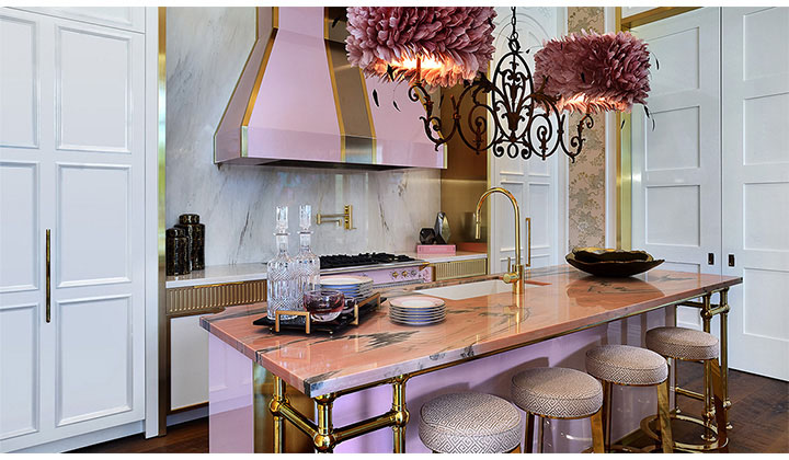 "Georgian's one-of-a-kind ""PINK"" kitchen; high-end details & superior craftsmanship."
