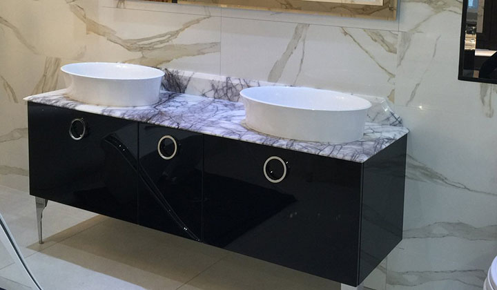 Double sink vanity with marble countertop