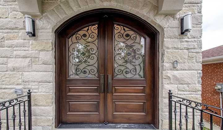 Beautiful Mahogany Double Door with Frosted Glass and Wrought Iron by Master Doors, Vaughan