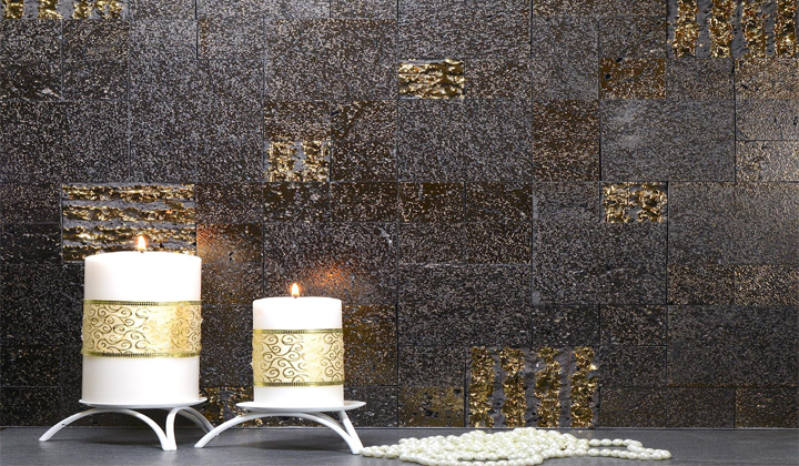 Contemporary Wall Mosaic Tiles Made Of Volcanic Lava by Artistic Mosaic, Toronto