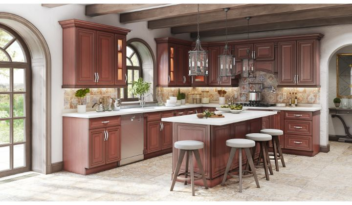 Traditional walnut kitchen design and renovation by Cozy Home Kitchen & Bath