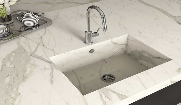 Marble Kitchen Countertop with Unique Sink by Surfaces For All Purposes, Toronto
