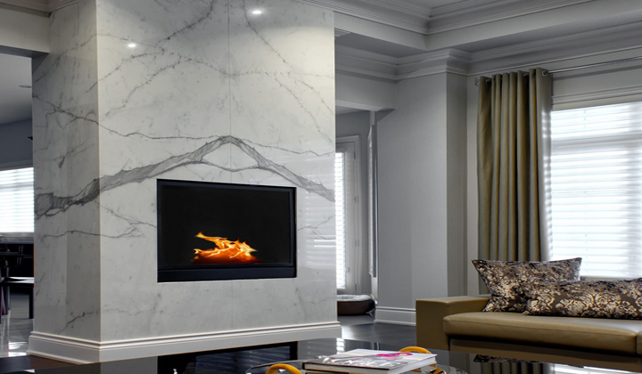 White Marble Fireplace Wall, Toronto