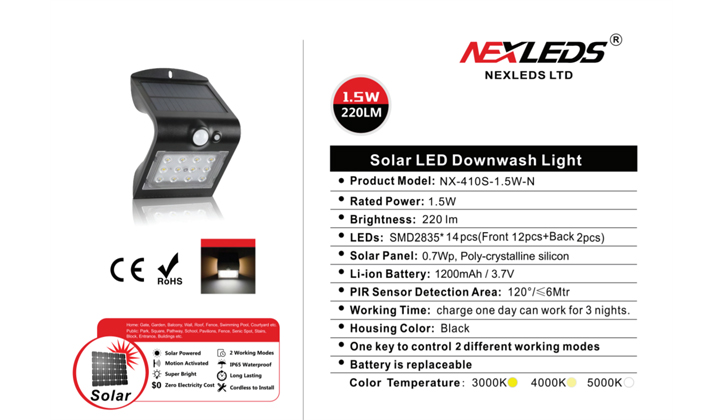 NEXLEDS Sensor Solar LED Downwash Light 1.5W Details and Description