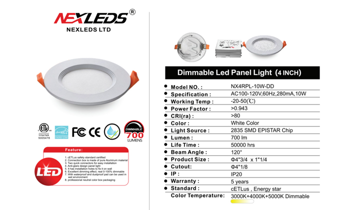 NEXLEDS Dimmable LED Panel Lights available in PoLite Showroom