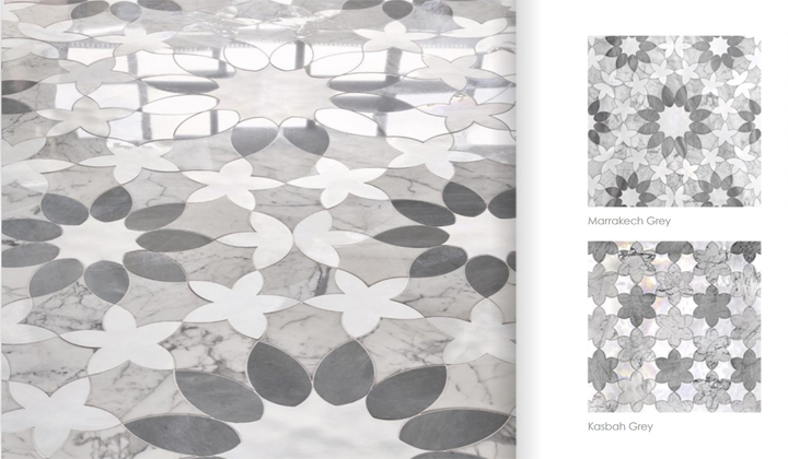 Grey Flowery Marble Tiles available at Artistic Mosaic Tiles, Vaughan