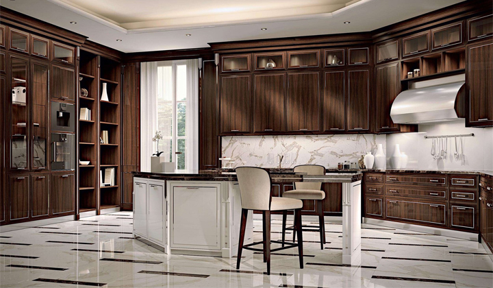 Dark Rosewood Kitchen with the Emperador Dark Marble Countertops⁠ by Martini Interiors, Toronto