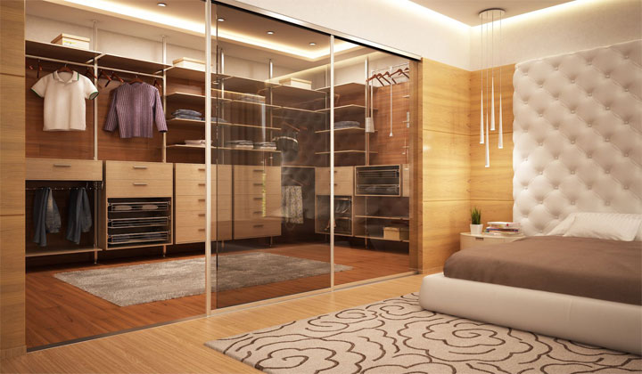 Exclusive wardrobe in bedroom by AlumComplete Sliding Doors & Suspended Systems, Toronto